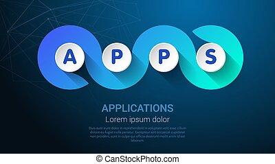 banner, apps, -, oder, landig, poppig, apllications., page...