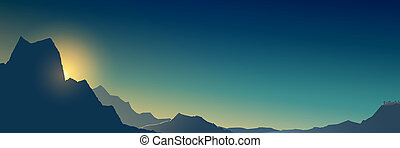 Banner at sunrise in the mountains