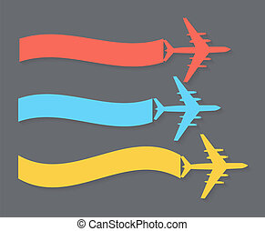 banner., avion, vecteur, illustration., retro