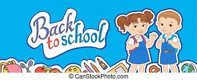 banner back to school boy girl pupil lettering logo vector