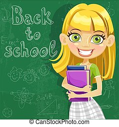 Banner - Back to school - cute teenager girl at the board ready to learn