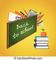 banner Back to School with books