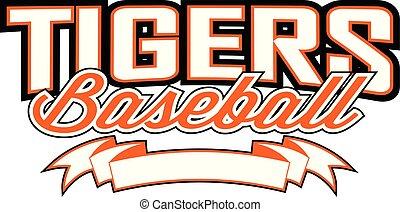 banner, baseball, tigre, konstruktion