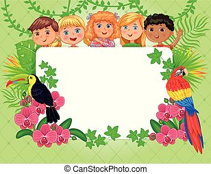 Banner blank for your text summer, tropics and cute kids.