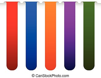 Banner, bookmark backgrounds vector from edge of a page. Colourful design elements.