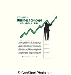 Banner Businessman make indicator arrow of growth on ladder on white background illustration vector. Business concept