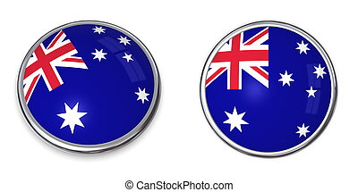 Banner Button Australia - button style banner in 3D of...