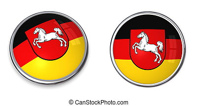 button style banner in 3D of Lower Saxony/Niedersachsen/Germany