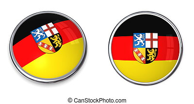 Banner Button Saarland/Germany - button style banner in 3D...