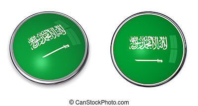 Banner Button Saudi Arabia - button style banner in 3D of...