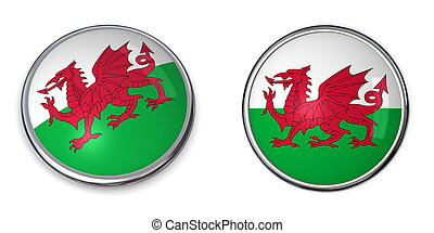 Banner Button Wales - button style banner in 3D of wales