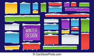 Banner, Button With Snow Caps Vector. Abstract. Frozen Effect Isolated Illustration