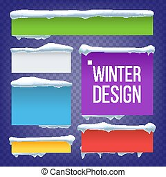 Banner, Button With Snow Caps Vector. New Year Winter Ice Element. Frozen Effect Isolated Illustration