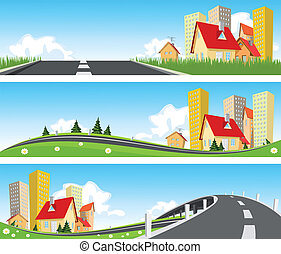 banner, byen, igennem, vej, natur