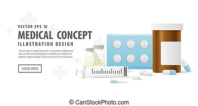 Banner capsule bottle and Pills medicine panel and Injection needle illustration vector on white background. Medical concept.