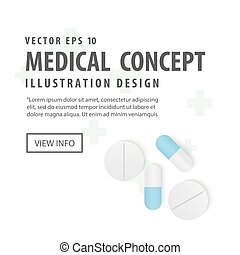 Banner capsules medicine and pills top view illustration vector on white background. Medical concept.