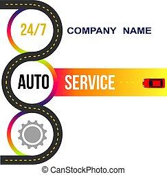 Banner car service. Road, repair. Vector illustration.