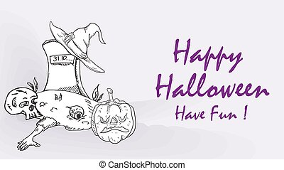 banner card, for design design, on the theme of the holiday all saints eve Halloween, Tombstone, grave, Pumpkin, black and white contour illustration