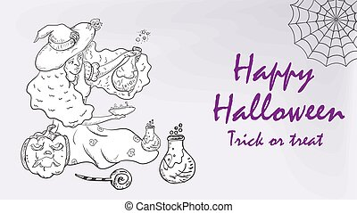 banner card for design design, on the theme of the holiday all saints eve Halloween, the Witch pours a potion, black and white contour illustration