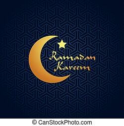 Banner, card, poster with arabic ornament and moon, vector illustration, Ramadan kareem. Gold and blue colors. EPS 8.