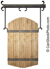 banner - wooden sign on the chains. with clipping path.