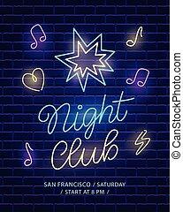 banner., club, néon, sombre, mur, fond, nuit, brique