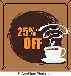 Banner Coffee 25% Off Vector Image