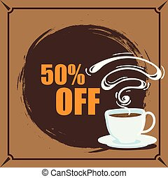 Banner Coffee 50% Off Vector Image