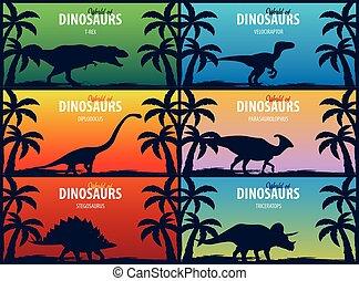 Banner collection World of dinosaurs. Prehistoric world. T-rex, Diplodocus, Velociraptor, Parasaurolophus, Stegosaurus, Triceratops. Cretaceous period. Jurassic period.
