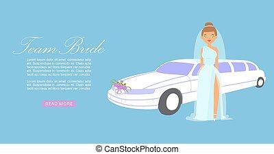 banner., dame, mode, smukke, vektor, illustration., automobilen, brud, brude, hold, bryllup, cartoon, fashion., klæde, baggrund, model