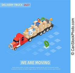 Banner Delivery Truck Inscription we are Moving. ...