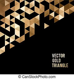 Banner design. Abstract template background with gold triangle shapes.