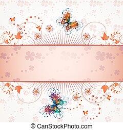 Banner design for springtime card