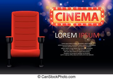 Banner design for the cinema. Realistic red comfortable...