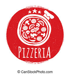 banner, design, pizzeria, grunge, etikett