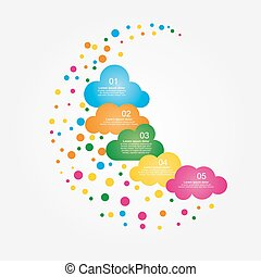 Banner design template with clouds. Vector illustration.