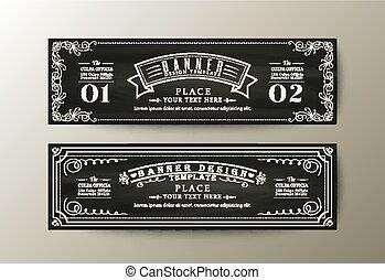 Banner design template with Vintage floral frame on chalk board background