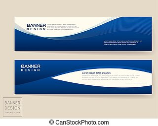 banner design templates set with dynamic wave in blue