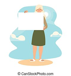 banner, design, vektor, frau, brett, karikatur, besitz