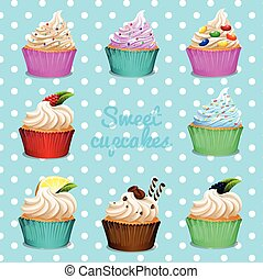 Banner design with different flavor cupcakes