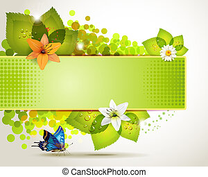 Banner design with flowers - Banner design with leaf, ...