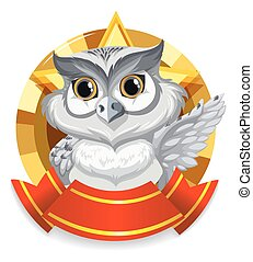 Banner design with gray owl