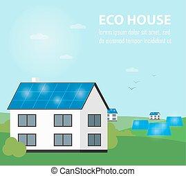 banner., eco, casa, energia, geração, sol