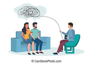 banner, familie, vektor, web, website, psychotherapie, seite, begriff
