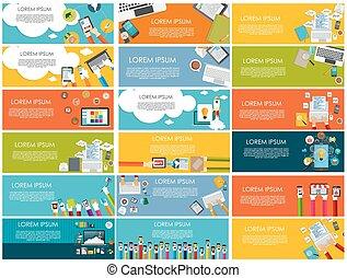 banner, firma, din, illustration, moderne, vektor, konstruktion, lejlighed