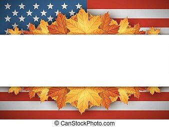 banner., flag., bladeren, herfst, achtergrond., amerikaan