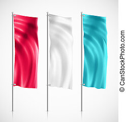 Banner flag - Three colorful banner flag. Illustration...