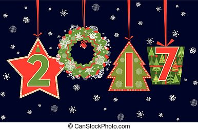 Banner for 2017 New Years holiday with paper applique