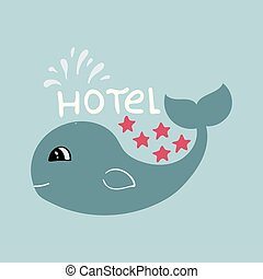 Banner for 5 star hotel with cute hand-drawn whale.