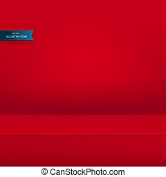Banner for advertise product on website, Vector empty light room background pastel red color studio table room background, product display with copy space for display of content design